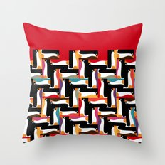 herringbone penguin Throw Pillow