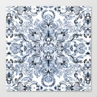 Indigo, Navy Blue and White Calligraphy Doodle Pattern Canvas Print
