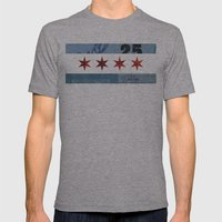 Ephemeral Chicago Flag Mens Fitted Tee Athletic Grey SMALL