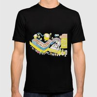 Robots make the best donuts Mens Fitted Tee Black SMALL