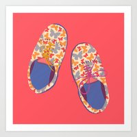 Butterfly Shoes Art Print