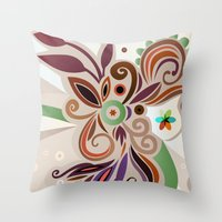 Floral Curves Throw Pillow