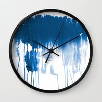 Paint 1 - indigo blue drip abstract painting modern minimal trendy home decor dorm college art Wall Clock