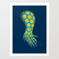 The deceitful smiley face octopus Art Print