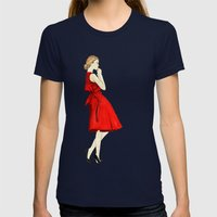 red dress Womens Fitted Tee Navy SMALL