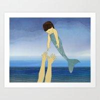 Triton tossing his mermaid daughter Art Print
