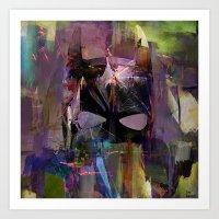 Bat Abstract Man  Art Print