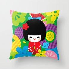 Kokeshi Throw Pillow