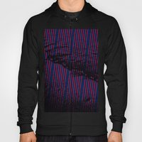 Red stripes on bold blue illustration. Hoody