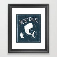 Moby Dick - Blue Framed Art Print