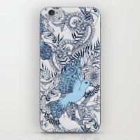 Flight of Fancy - navy, blue, grey iPhone & iPod Skin