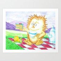 Hedgehog Tea Party Art Print