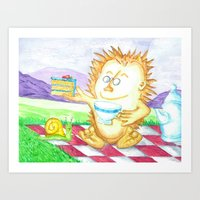 Hedgehog Tea Party Art Print