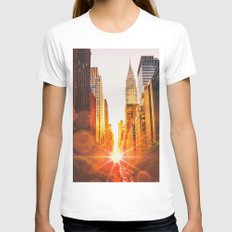 NYC Skyline Sunset Womens Fitted Tee White SMALL