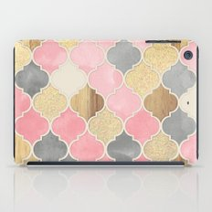 Silver Grey, Soft Pink, Wood & Gold Moroccan Pattern iPad Case