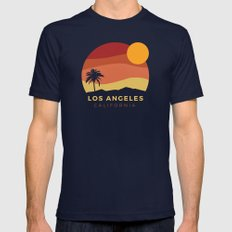 Los Angeles Sunset Mens Fitted Tee Navy SMALL