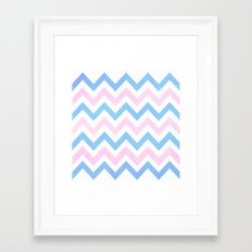 Blue Pink Textured Vintage Chevron Framed Art Print