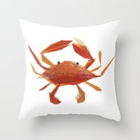 Clementine Crab Throw Pillow