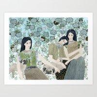 Girls With Pugs Among Ro… Art Print