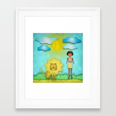 The Girl And The Lion Framed Art Print