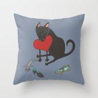 Black Dog Love Throw Pillow