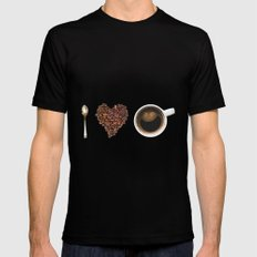 I Love Coffee SMALL Mens Fitted Tee Black