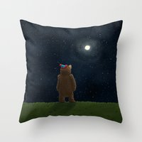 Starry Night Novembear Throw Pillow