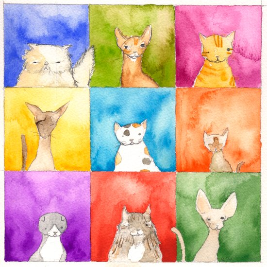 Cats in Squares Art Print