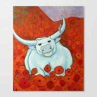 Bull In Poppies Canvas Print