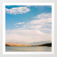 Mountain and lake view Art Print