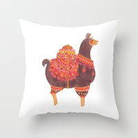 The Lovely Llama Throw Pillow