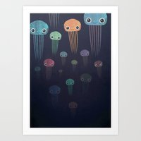 jellyfish Art Prints featuring Jellyfish by afoxdesigns