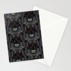 demon skull charcoal Stationery Cards