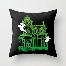 Haunted Victorian House Throw Pillow