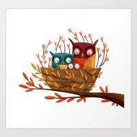 Owl Family Art Print