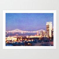 BAY BRIDGE GLOW Art Print