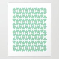 Diamond Hearts Repeat Mint Art Print