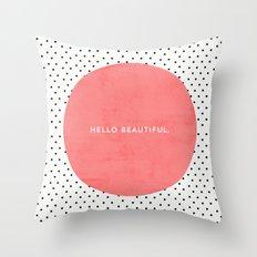 HELLO BEAUTIFUL - POLKA DOTS Throw Pillow