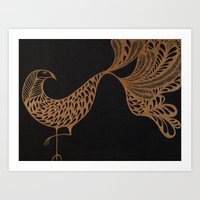Golden Bird #1 Art Print