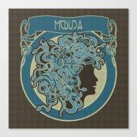 Medusa Silhouette (dark) Canvas Print