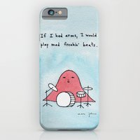 iPhone Cases featuring If I had arms, I would play mad freakin' beats by Marc Johns