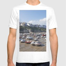 Boats in Tenby Harbour at low tide. Wales, UK. Mens Fitted Tee White SMALL