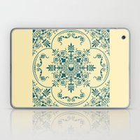 Decorative Pattern in Creme and Blue Laptop & iPad Skin