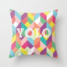 YOLO Geometric Throw Pillow