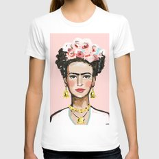 Frida Kahlo Womens Fitted Tee White SMALL