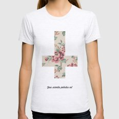 Flower Cross Womens Fitted Tee Ash Grey SMALL