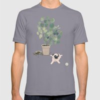 Pug Puppy Playing Mens Fitted Tee Slate SMALL