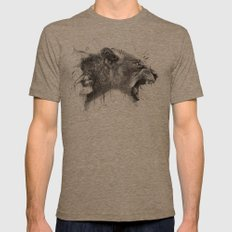 DARK LION Mens Fitted Tee Tri-Coffee SMALL