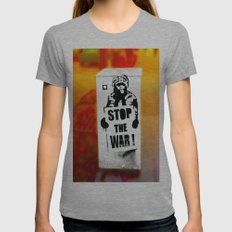 STOP THE WAR !! Womens Fitted Tee Athletic Grey SMALL