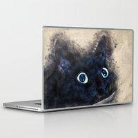 black cat Laptop & iPad Skins featuring Black cat by jbjart